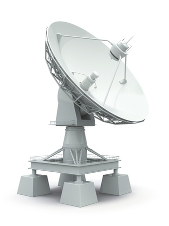 Communiation. Satellite dish on white background. 3d photo