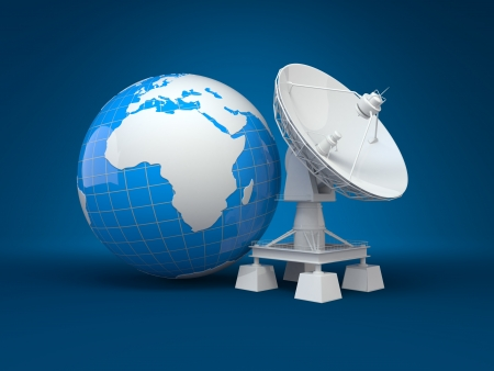 Satellite dish and earth on blue background  3d photo