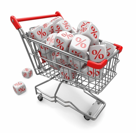 Discounts  Shopping cart and cubes with percent  3d photo