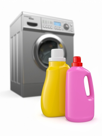 Washing machine and detergent bottles on white backround  3d photo