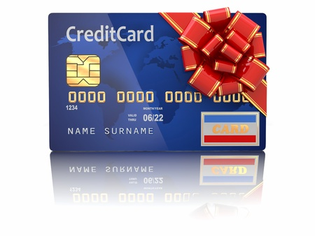woman credit card: Gift �redit �ard on white background  3d