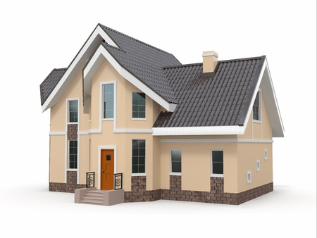 House on white background  Three-dimensional image  3d photo