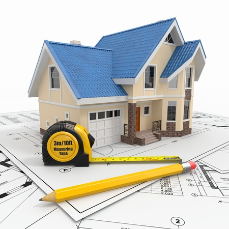 Residential house with tools on architect blueprints  Housing project  3d Stock Photo - 17440289