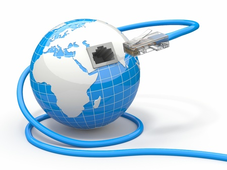 network cable: Global communication  Earth and cable, 3d