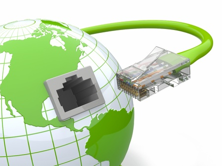 network connection plug: Global communication  Earth and cable