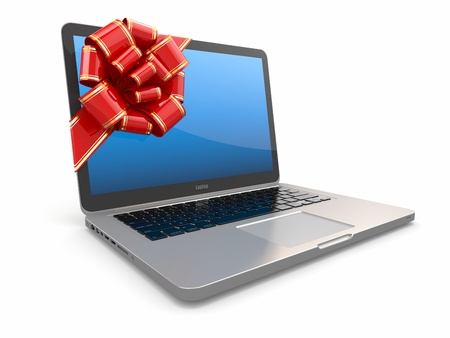 Laptop gift  Bow and ribbon on screen  3d photo