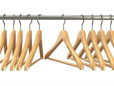 Clothes hangers on white isolated  background  3d photo