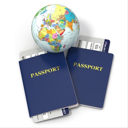 pasaporte: Tierra, billetes de avión y el pasaporte en fondo blanco 3d World Travel