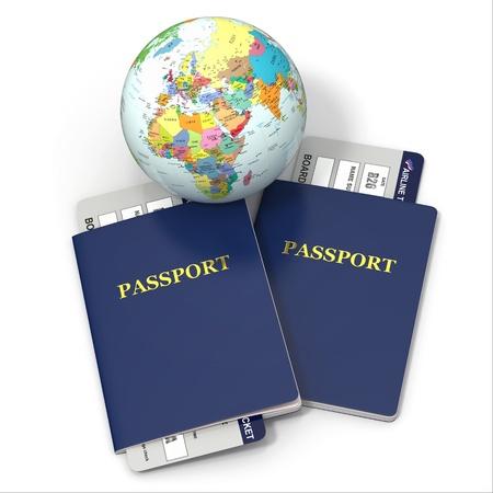 pasaporte: World Travel Tierra, billetes de avi�n y pasaporte en fondo blanco 3d