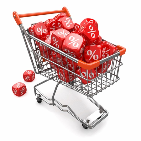 disbelief: Discounts  Shopping cart and cubes with percent  3d Stock Photo