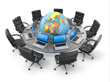 Concept of global business communication. Laptops and armchairs around table with earth. 3d Stock Photo - 17875683