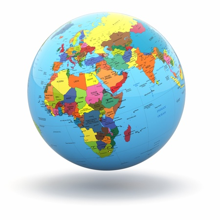world locations: Political world globe on white isolated background. 3d
