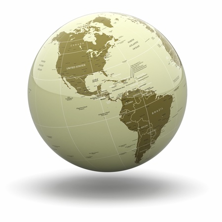 Political world globe on white isolated background. 3d photo