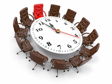 conference table: Concept of business meeting or brainstorming. Circle table as clock and armchairs. 3d