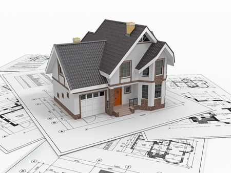 estate planning: Residential house with tools on architect blueprints. Housing project. 3d Stock Photo