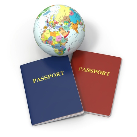 World travel. Earth and passport on white background. 3d photo