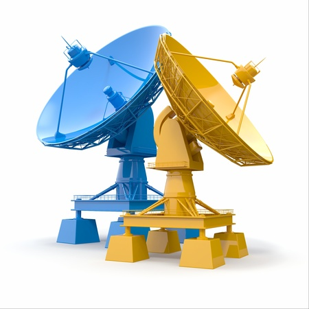 Communiation. Satellite dish on white background. 3d Stock Photo - 17875684