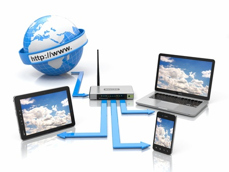 sync: Concept of home network. Sync devices. 3d Stock Photo