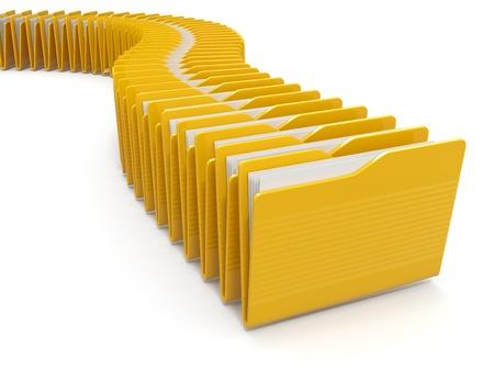 dentro fuera: Fila de computadoras carpetas amarillas sobre fondo blanco. 3d Foto de archivo