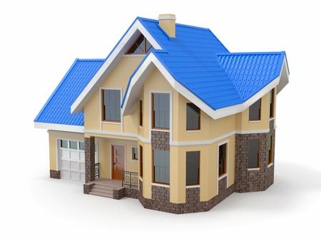 Huis op witte achtergrond. Driedimensionale afbeelding. 3d Stockfoto