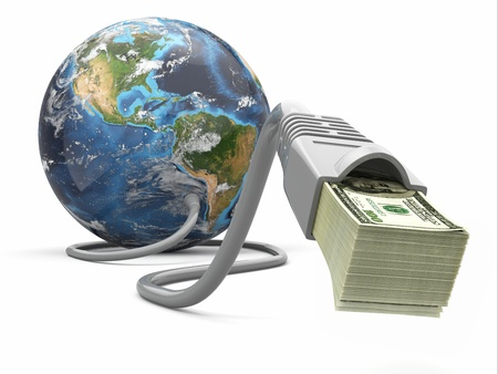Make money online. Concept. Earth and internet cable with money. Source of map: http:visibleearth.nasa.govview.php?id=73801  NASA Terms of Use  For all non-private uses, NASA's Terms Of Use are as follows: The imagery is free of licensing fees  Source: photo