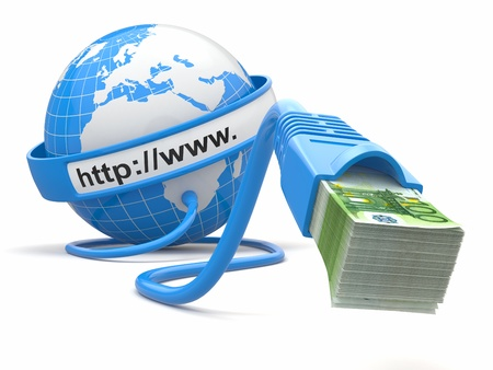 Make money online. Concept. Earth and internet cable with money. 3d photo