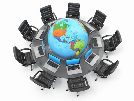 Concept of global business communication. Laptops and armchairs around table with earth. 3d photo
