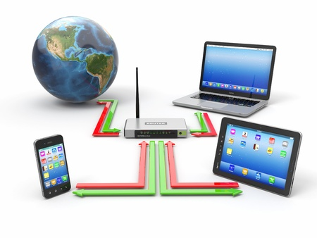Concept of home network  Sync devices  3d Stock Photo - 18217945