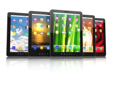 Group of digital tablet pc with different screen backgrounds  3d Stock Photo - 18218197