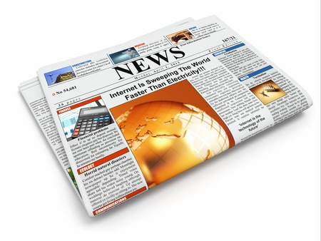 News  Folded newspaper on white isolated background  3d