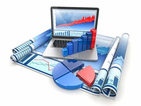 hoja de calculo: Negocios analizar 3d portátil, gráfico y diagrama