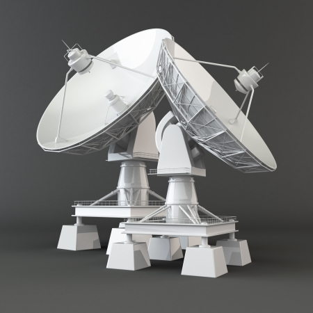 communications tower:  Communiation  Satellite dish on grey background  3d