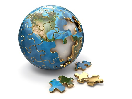 Concept of Globalization  Earth puzzle on white background   photo