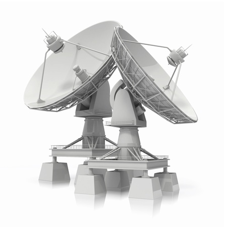 communications tower:  Communiation  Satellite dish on white background  3d Stock Photo