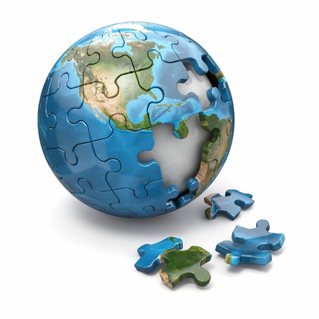 puzzles: Concept of Globalization  Earth puzzle on white background  3d