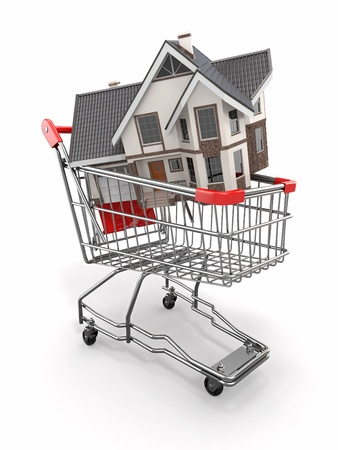Property market  House in shopping cart  3d photo