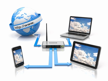 sync: Concept of home network  Sync devices  3d Stock Photo