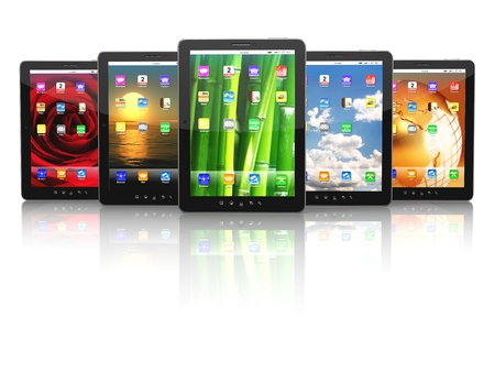 Group of digital tablet pc with different screen backgrounds  3d photo