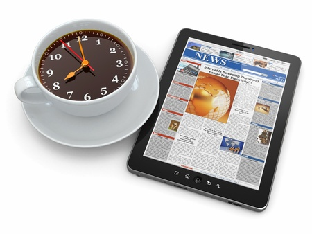 coffee time: Morning news  Tablet pc  and clock as cup of coffee  3d