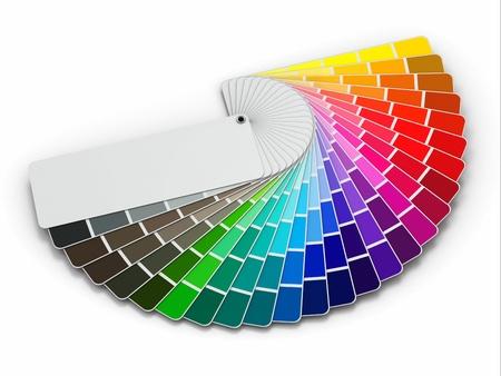 imprenta: Guía del color de la paleta en el fondo blanco 3d