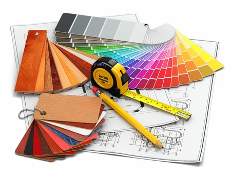 building plans: interior design  Architectural materials, measuring tools and blueprints  3d Stock Photo