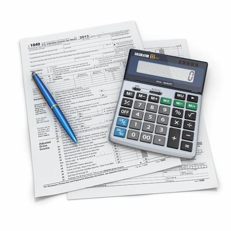 calculadora: Declaraci�n de impuestos 1040, calculadora y l�piz sobre fondo blanco 3d