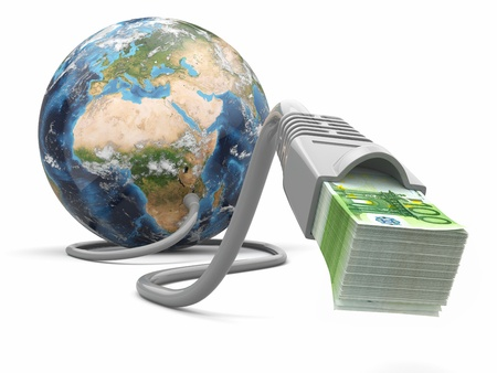three dimensional accessibility: Make money online  Concept  Earth and internet cable with money  3d