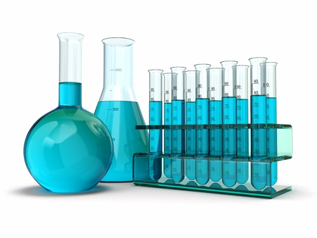 reagent: Scientific research  Glass test tubes with reagent  3d Stock Photo
