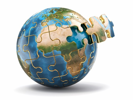 Concept of Globalization  Earth puzzle on white background  3d photo