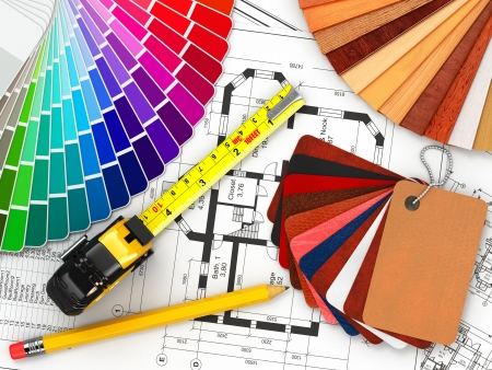 interior drawing: interior design  Architectural materials, measuring tools and blueprints  3d Stock Photo