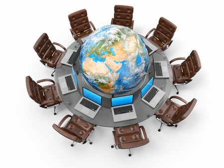 Concept of global business communication  Laptops and armchairs around table with earth  3d photo