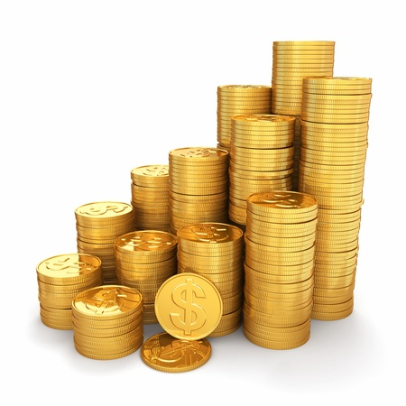 pile of coins: Wealth  Pyramid from gold coins on white background  3d Stock Photo