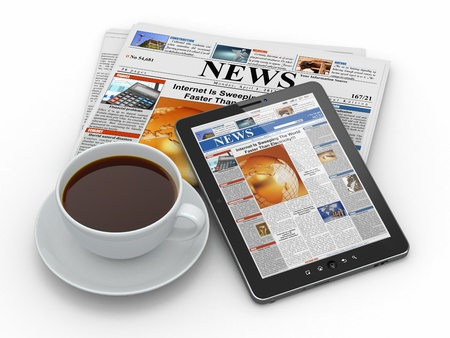 cafe internet: Morning News Tablet PC, el peri�dico y la taza de caf� 3d Foto de archivo
