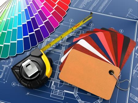 designers interior: materiali di design di architettura d'interni, strumenti di misura e progetti 3D Archivio Fotografico